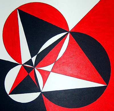 Rendering of Fermat point in acrylic on canvas by Suman Vaze